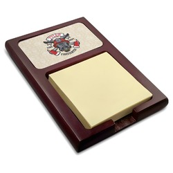 Firefighter Red Mahogany Sticky Note Holder (Personalized)