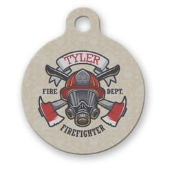 Firefighter Round Pet ID Tag (Personalized)