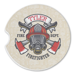 Firefighter Sandstone Car Coasters (Personalized)