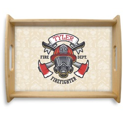 Firefighter Natural Wooden Tray - Large (Personalized)
