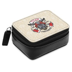 Firefighter Small Leatherette Travel Pill Case (Personalized)
