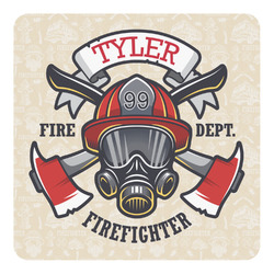 Firefighter Square Decal (Personalized)