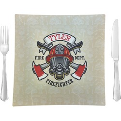 """Firefighter Glass Square Lunch / Dinner Plate 9.5"""" - Single or Set of 4 (Personalized)"""