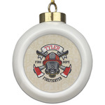 Firefighter Ceramic Ball Ornament (Personalized)