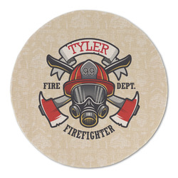 Firefighter Round Linen Placemat (Personalized)