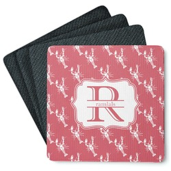 Crawfish 4 Square Coasters - Rubber Backed (Personalized)