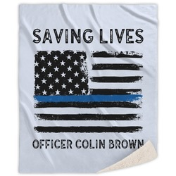 Blue Line Police Sherpa Throw Blanket (Personalized)