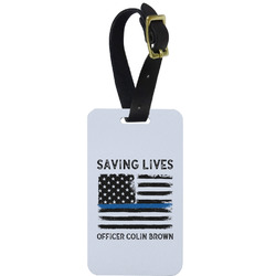 Blue Line Police Metal Luggage Tag w/ Name or Text