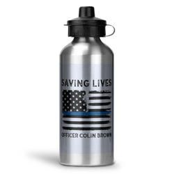 Blue Line Police Water Bottle - Aluminum - 20 oz (Personalized)