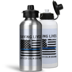 Blue Line Police Water Bottles- Aluminum (Personalized)