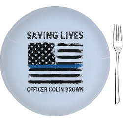 """Blue Line Police Glass Appetizer / Dessert Plates 8"""" - Single or Set (Personalized)"""