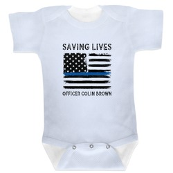 Blue Line Police Baby Bodysuit (Personalized)