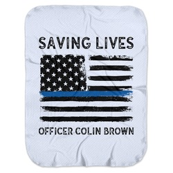 Blue Line Police Baby Swaddling Blanket (Personalized)