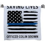 Blue Line Police Full Print Bath Towel (Personalized)