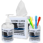 Blue Line Police Acrylic Bathroom Accessories Set w/ Name or Text