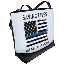 Blue Line Police Beach Tote Bag (Personalized)