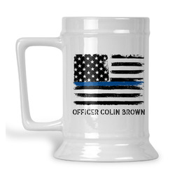 Blue Line Police Beer Stein (Personalized)
