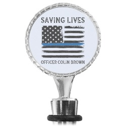 Blue Line Police Wine Bottle Stopper (Personalized)