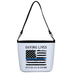 Blue Line Police Bucket Bag w/ Genuine Leather Trim (Personalized)