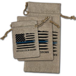Blue Line Police Burlap Gift Bags (Personalized)