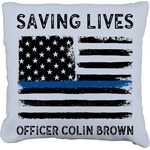 Blue Line Police Faux-Linen Throw Pillow (Personalized)