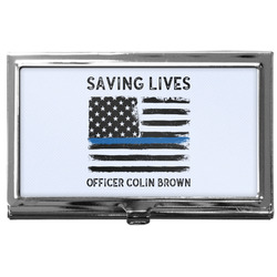 Blue Line Police Business Card Holder
