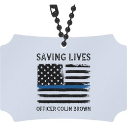 Blue Line Police Rear View Mirror Ornament (Personalized)