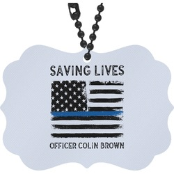 Blue Line Police Rear View Mirror Charm (Personalized)