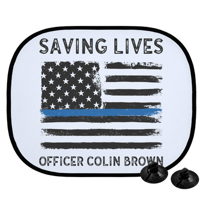 Blue Line Police Car Side Window Sun Shade (Personalized)