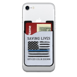 Blue Line Police 2-in-1 Cell Phone Credit Card Holder & Screen Cleaner (Personalized)