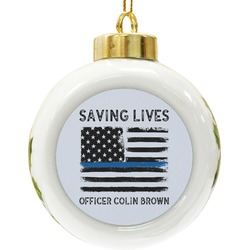 Blue Line Police Ceramic Ball Ornament (Personalized)