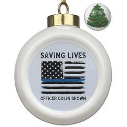 Blue Line Police Ceramic Ball Ornament - Christmas Tree (Personalized)