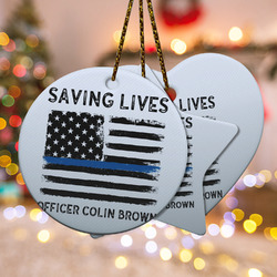 Blue Line Police Ceramic Ornament w/ Name or Text