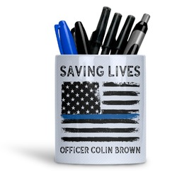 Blue Line Police Ceramic Pen Holder