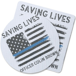 Blue Line Police Rubber Backed Coaster (Personalized)