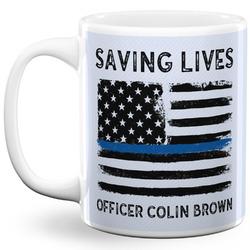 Blue Line Police 11 Oz Coffee Mug - White (Personalized)