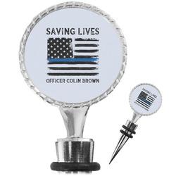 Blue Line Police Wine Bottle Stopper (Personalized)
