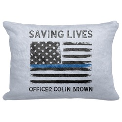 "Blue Line Police Decorative Baby Pillowcase - 16""x12"" (Personalized)"