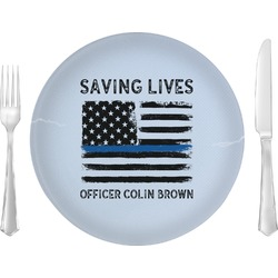 """Blue Line Police 10"""" Glass Lunch / Dinner Plates - Single or Set (Personalized)"""