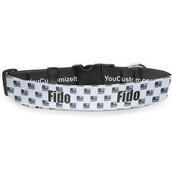 """Blue Line Police Deluxe Dog Collar - Extra Large (16"""" to 27"""") (Personalized)"""