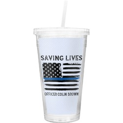 Blue Line Police Double Wall Tumbler with Straw (Personalized)