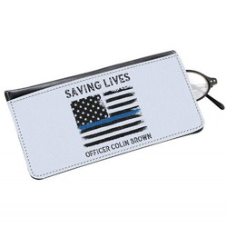 Blue Line Police Genuine Leather Eyeglass Case (Personalized)