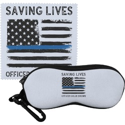 Blue Line Police Eyeglass Case & Cloth (Personalized)