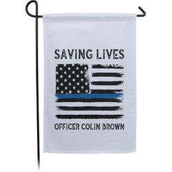 Blue Line Police Single Sided Garden Flag (Personalized)