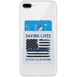 Blue Line Police Genuine Leather Adhesive Phone Wallet (Personalized)
