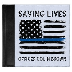 Blue Line Police Genuine Leather Baby Memory Book (Personalized)