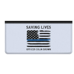Blue Line Police Genuine Leather Checkbook Cover (Personalized)