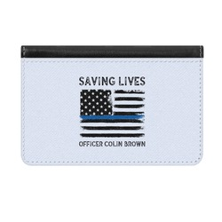 Blue Line Police Genuine Leather ID & Card Wallet - Slim Style (Personalized)