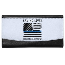 Blue Line Police Genuine Leather Ladies Wallet (Personalized)