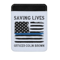 Blue Line Police Genuine Leather Money Clip (Personalized)